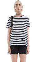 Wholesale Acne smiley embroidery all match loose stripe t shirt vest short sleeve