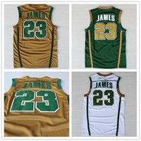 lebron james jersey - Irish Lebron James High School Jersey Top Quality Stitched Lebron James Jersey Green Yellow White High School Basketball Jersey