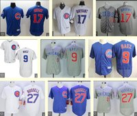 Wholesale Men s Chicago Cubs Javier Baez Kris Bryant Addison Russell White Grey BLue cheap Stitched vintage Baseball Jersey Top Quality