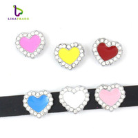 Wholesale 10PCS MM Heart Slide Charm DIY accessory Fit mm Wristband Belt Pet Collar Zinc Alloy LSSC61