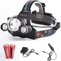 Wholesale 5000LM LED Headlamp CREE XML T6 Modes Rechargeable Spotlight For Hunting Charger US EU