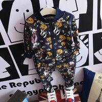 kids sweat suits - Korean Boys sweat suit Child Cartoon printing Spring Autumn tracksuit kids set Suit Outfits coat trousers pants Fashion Lovekiss C29707