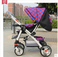 baby carriage wheels - Luxury Baby Stroller Folding Baby Carriage High Landscape Sit and Lie for Newborn Infant Four Wheels Colors