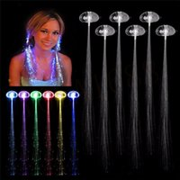 Wholesale 35CM Lighting LED Hair Braid Clip Hairpin Multicolor LED Flash Light Birthday neon Party dance Celebration Supplies for Xmas