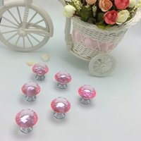 Wholesale 20 Light Pink Color mm Diamond Shape Crystal Glass Pull Handle Cupboard Cabinet Drawer Door Furniture Knob Wholesales