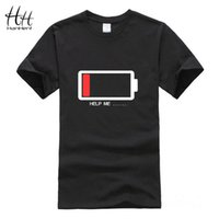 battery t shirt - Hanhent HELP ME Battery Summer Style Men s T Shirt Letters Battery Low Printed Funny Tshirts Tops Boys Man Male D