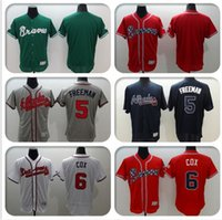 Wholesale 2016 Mens Flexbase Freddie Freeman Bobby Cox Blank Jersey Color Red Green Gray White Throwback Jerseys