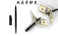 Wholesale New Magic Trick Ball Pen Brand Black Magician Toy Thru Bill Penetration Dollar Bill Pen Trick