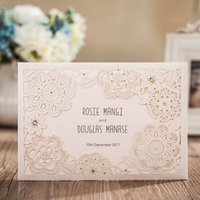 Wholesale Elegant Wedding Invitations Cards Red Laser Cut Floral with Ribbon mm CW5086 WISHMADE Party Cards