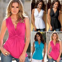 Wholesale The new sexy ladies kink vest render unlined upper garment Cheap clothes Woman s clothes Sleeveless vest Deep v neck Polyester fiber spandex
