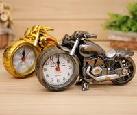 Wholesale motorcycle alarm clocks Home Decoration Alarm Clock Super Cool Motorcycle Model Alarm Clocks Creative Retro Gift Decor Kids Children Gift