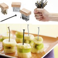 Wholesale 2016 Reusable Creative Iron Nail Style Plastic Fruit Fork Multiple Use Snack Fork For Party Fruit Pick