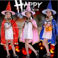 Wholesale Halloween capes and cap Children Cloak Witch Show Costume Pentacle Cloak Magician Cloak Pumpkin School Cloak Cosplay Costume