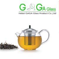 Wholesale NEW Product mlpyrex glass teapot little glass tea pot tea kettle with measurement scale wooden lid handmade glassware