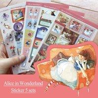 Wholesale 5pcs pack Alice in wonder series school stickers for scrapbooking bookmark decoration Stationery School supplies Zakka tt