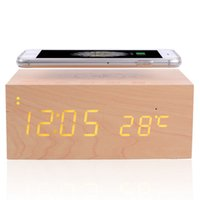 Wholesale Multifunctional wooden clock bluetooth stereo speakers w LED display time temperature NFC wireless chargers bluetooth speaker speaker