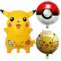 Wholesale Pikachu balloon styles Poke Foil Balloons Inflatable Toy Helium Balloons Children classic toys happy Birthday balloons Party Supplies F776