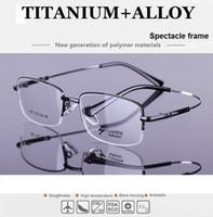 Wholesale 53 Stylish new titanium alloy memory glasses frame manufacturers men s half frame optical glasses frame