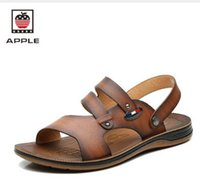 ankle wrap flats - Arrival Summer Male Sandals Men Genuine Leather Shoes Open Toe Slippers Leisure Breathable Fashion Casual Cowhide Beach Shoes