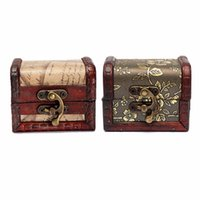 antique wooden chests - 1pcs Antique Vintage Wooden Box Stamp Flower Small Metal Lock Jewelry Treasure Chest Handmade Retro Wood Organizer Case Box