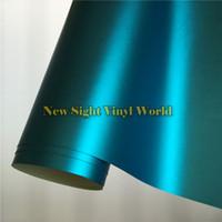 aluminum folie - High Quality Matte Satin Chrome Aluminum Blue Vinyl Wrap Folie Bubble Free For Car Wrapping Size M Roll