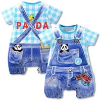 baby boy one piece hello - 2016 new summer baby girl romper baby boys clothes hello kitty cat panda dot Strap short sleeved one pieces Jumpsuit clothing