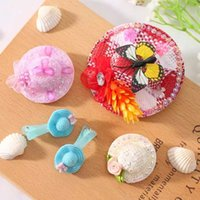 Wholesale 5 Children Hair Accessories Mixed Color Straw Hat Hair Clips Girls Hair Clips Support