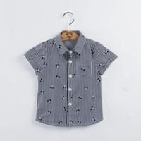 Camisa ABRÁCEME Niños bebés 2016 del nuevo verano de manga corta de algodón camisa de la impresión del caballero Sripe 10