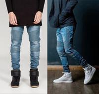 al por mayor pantalones vaqueros delgados hombres del estilo de ajuste-Nuevo Streetwear Hombres flacos de los pantalones vaqueros del motorista de la motocicleta de los hombres del homme Slim Fit Hip Hop Swag de Kanye West estilo Vaqueros Joggers