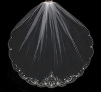 beaded comb - Custom Made One Layer Fingertip Wedding Veils With Beaded Edge Cheap Tulle Rhinestones Bridal Veil With Comb For Bride