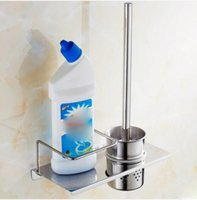 Wholesale Home Bathroom Accessories Toilet Cleaning Brush Holder Set Storage Shelf Chrome Finishes Stainless Steel Wall Mounted
