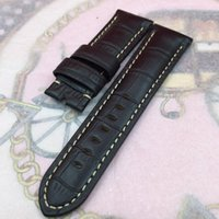 Wholesale 24mm mm high quality Black Red Bamboo Series Calf Leather Band Strap For Panerai UNMINOR watch