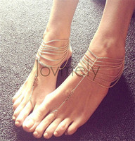 Wholesale Anklets Gold Indian Anklets New Beach Wedding Barefoot Sandals Multi Tassel Toe Ring Chain Link Foot Jewelry Anklet Chain Women Gift