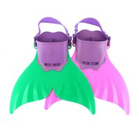 adjustable swim fins - 2 Colors Mermaid Monofin Fin Flippers Swimming Toy Tails Adjustable for Boys Girls Kids Summer Swimming Tools
