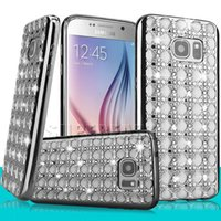 Cheap For iPhone 7 Plus Jewelry Rhinestone Electroplating Diamond Case Bling Luxury Glitter Power Soft TPU Case for Galaxy J7 with OPP Box