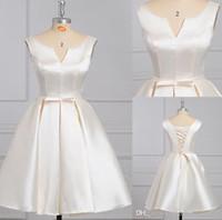 Wholesale Fashion Tarik Ediz V neck Lace Up Cocktail Dresses Simple Design Stain New Arrival Dresses Party Evening