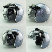2016 Nueva motocicleta de la fibra de vidrio del adulto del diseño Cascos abiertos de la cara Vintage 3/4 que compite con los cascos de la vespa Cascos del jet Moto con el protector de la burbuja ECE