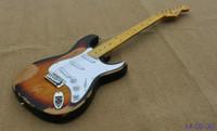 Wholesale hot selling Aged sunburst color SRV electric guitar V C shape headstock