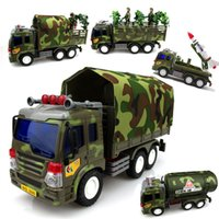 Wholesale Inertia Car Toys For Boy Children Military Chariot Car Kid s Mini Cars Small Green Truck Tankers Missile Car