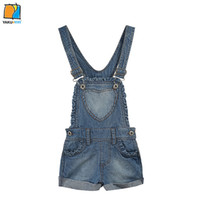 Wholesale YAKUYIYI Brand New Denim Roll Up Girls Jeans Buttons Pockets Baby Jumpsuit Casual Girls Overalls Children Clothing