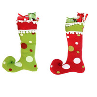 christmas crafts - 12 Christmas Decorate Christmas Stocking Christmas Crafts Red color Green Color Fabric Stocking Dot Design
