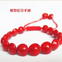beaded bean bracelet - Natural Lovesickness About CM Rope Weave Buddha Bracelet Bodhi Red Bean Hand Decorate Shamballa PEARL