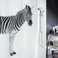Wholesale 180 cm Zebra Art Style Waterproof Fabric Bathroom Shower Curtain With Hooks cortinas