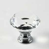 Wholesale Diameter mm Clear Crystal Glass Cabinet Knob Cupboard Drawer Pull Handle Come with kinds of Screws
