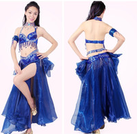 belly dancing professional costumes - 2017 Belly Dance Costume Bra Belt Skirt Embroidery Tribal Indian Dresses Professional Danca Do Ventre Practice Performent Dress
