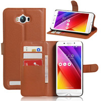 asus free - For ASUS ZenFone MAX Zc550KL Fashion Litchi Pattern PU Leather Wallet Stand Case Cover with Card Slot Free Touch Pen