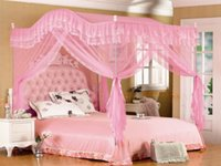 Wholesale Pink Arched Four Corner Square Princess Bed Canopy Mosquito Netting