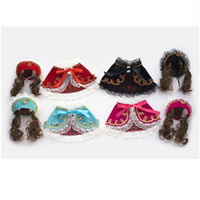 audrey wigs - New Lovely Pet Baby Sets Pageant Audrey Princess Dog Elegant Lace Printing Cloak with Queen Cap and Wig Cute Dog Photography Costume