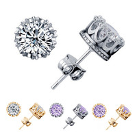 Wholesale Luxury Crown Wedding Stud Earrings Sterling Silver CZ Rhinestone Engagement Beautiful Jewelry Crystal Ear Rings