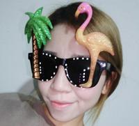 Wholesale Fun Flamingo Sunglasses Hula Tropical Hawaiian Glitter Holidays Stag Pr of Flamingo Palm Tree Luau Party Sun glasses LC387